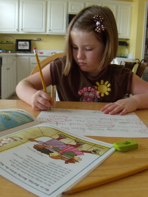Katie's handwriting & language arts lesson.