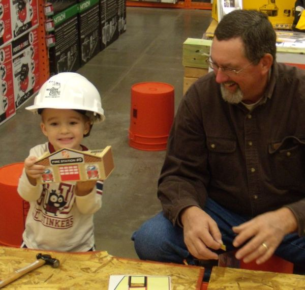 building with Papa at Home Depot