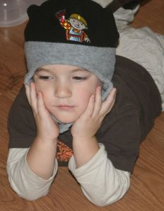 Michael loves his Bob the Builder hat