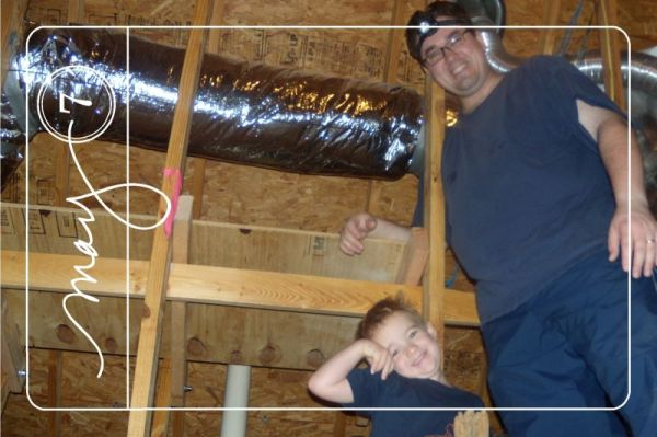 Attic renovations are in full swing. Michael was thriled to have had the chance to dress and climb up to help an hour before breakfast. ..BTW the headlight is coveted!