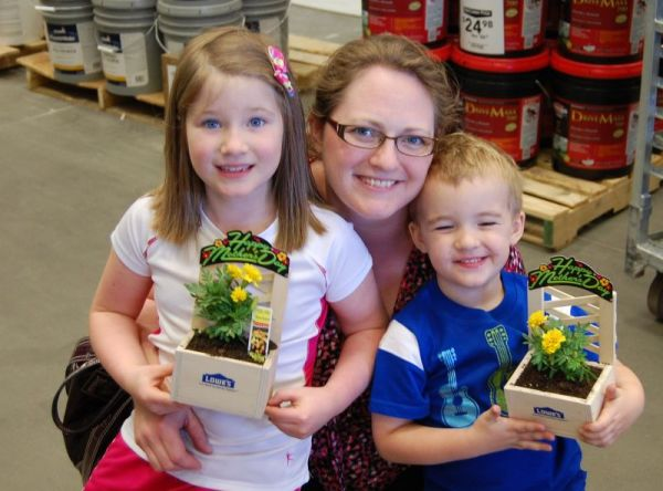 Happy Mother's Day presents crafted at our favorite Saturday morning destination....Lowe's! Great work Nate (and with two extra friends joining us).